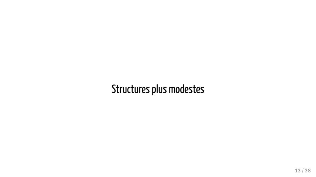 Structures plus modestes 13 / 38