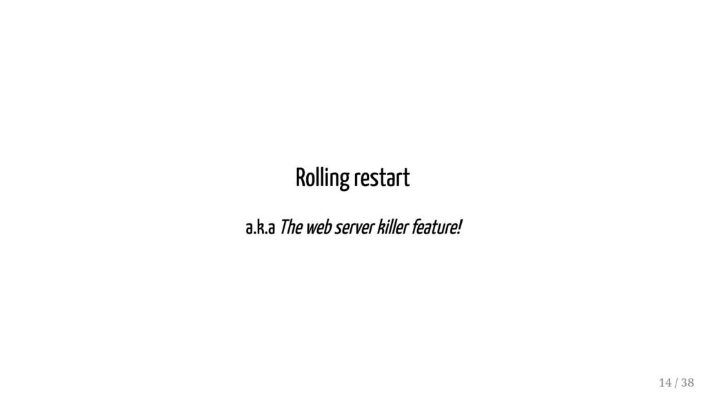 Rolling restart a.k.a The web server killer fea...