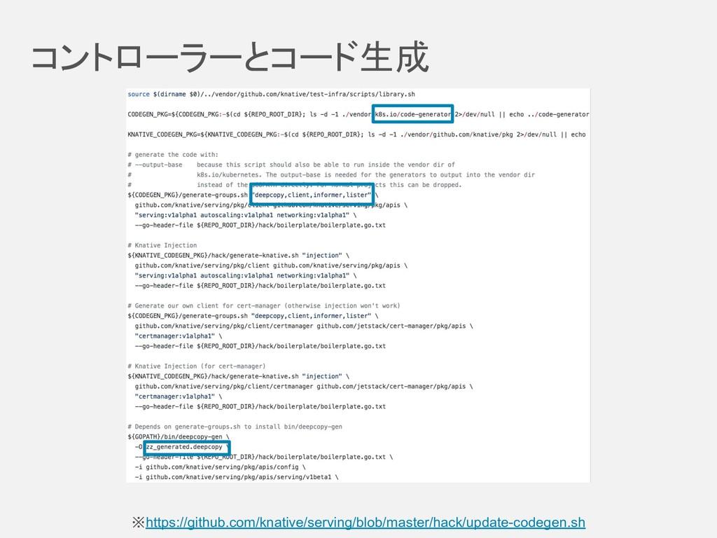 コントローラーとコード生成 ※https://github.com/knative/serv...
