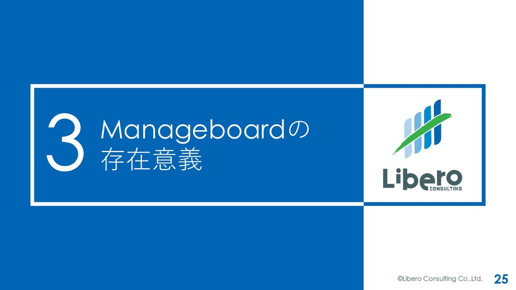 Manageboardの 存在意義 ©Libero Consulting Co.,Ltd. 2...