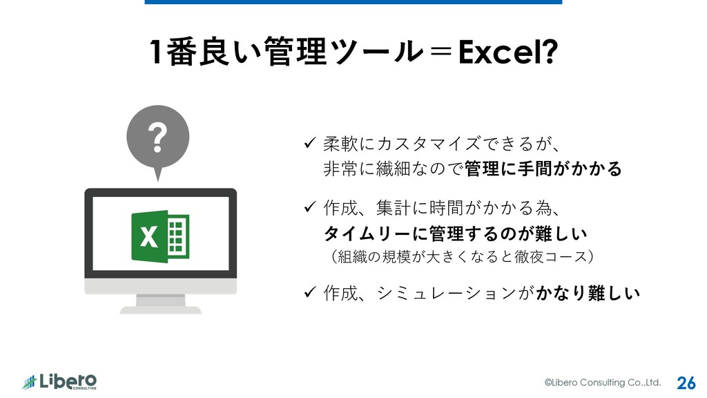 ©Libero Consulting Co.,Ltd. 26 1番良い管理ツール=Excel?...