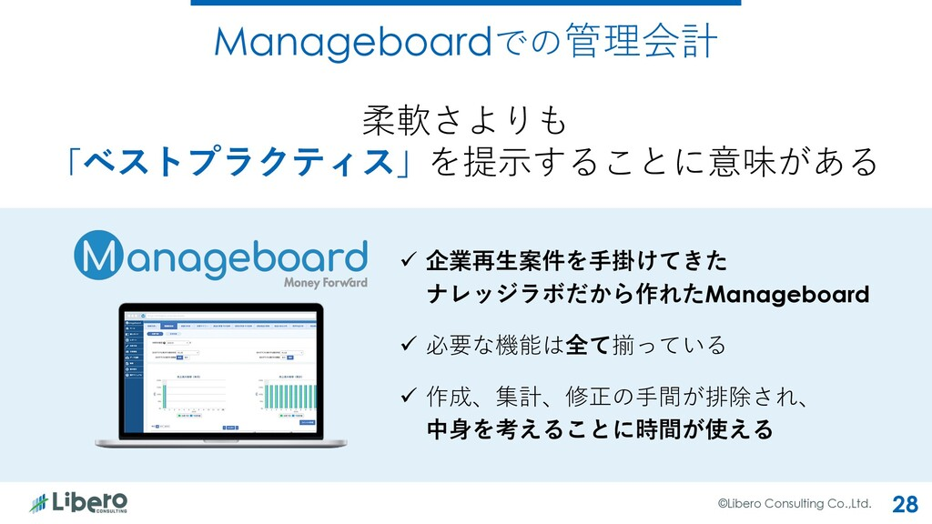 Manageboardでの管理会計 ©Libero Consulting Co.,Ltd. 2...