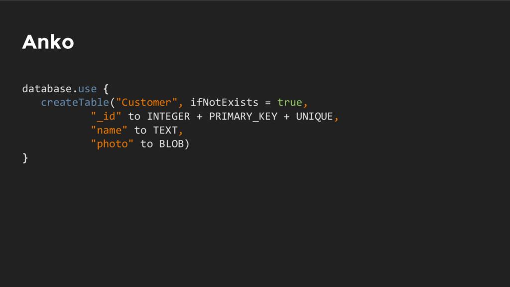 "Anko database.use { createTable(""Customer"", ifN..."