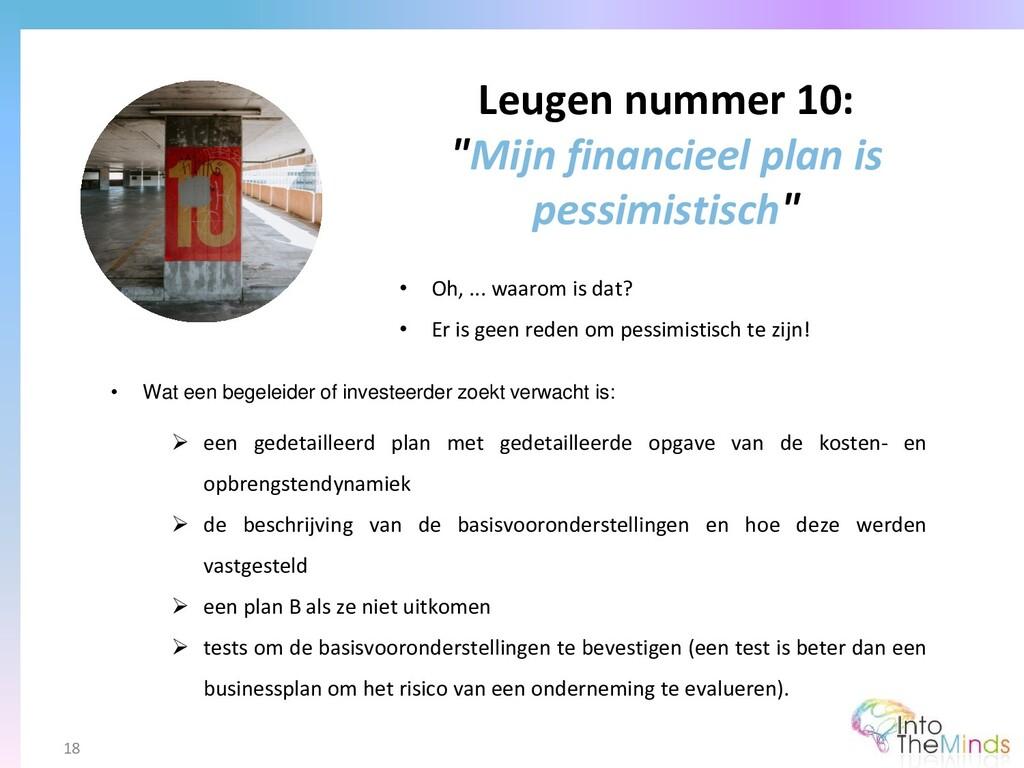 """Leugen nummer 10: """"Mijn financieel plan is pess..."""