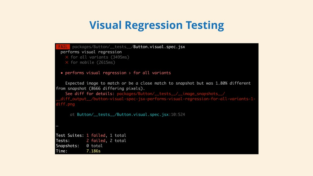 Visual Regression Testing FAIL packages/Button/...