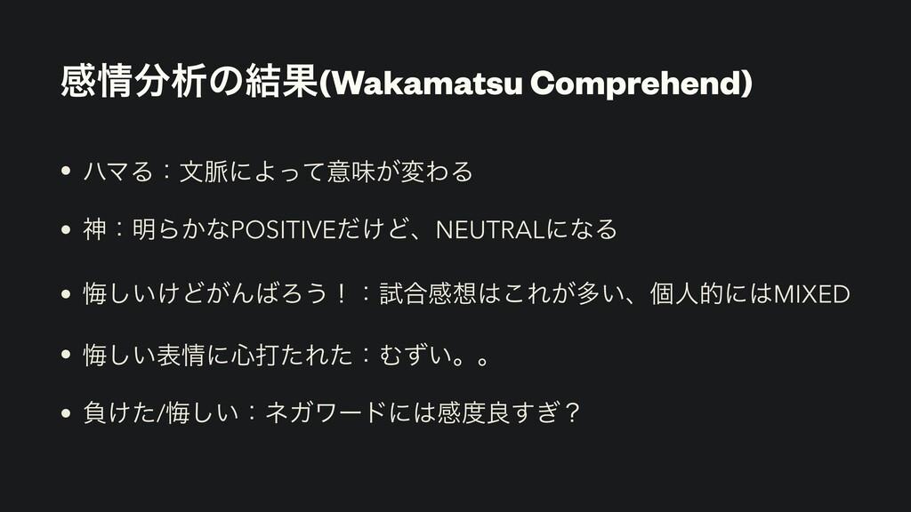 ײੳͷ݁Ռ(Wakamatsu Comprehend) • ϋϚΔɿจ຺ʹΑͬͯҙຯ͕มΘ...