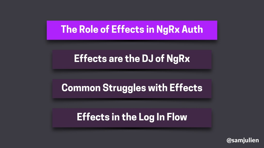 The Role of Effects in NgRx Auth @samjulien Eff...
