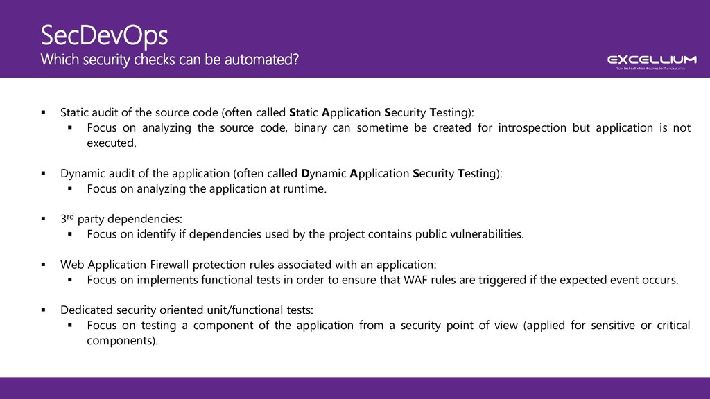 SecDevOps Which security checks can be automate...