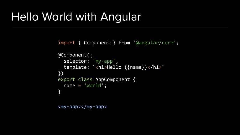 Hello World with Angular import { Component } f...