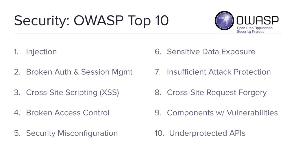 Security: OWASP Top 10 1. Injection 2. Broken A...