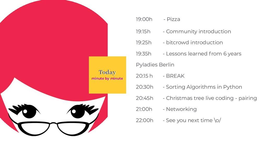 Today 19:00h - Pizza 19:15h - Community introdu...