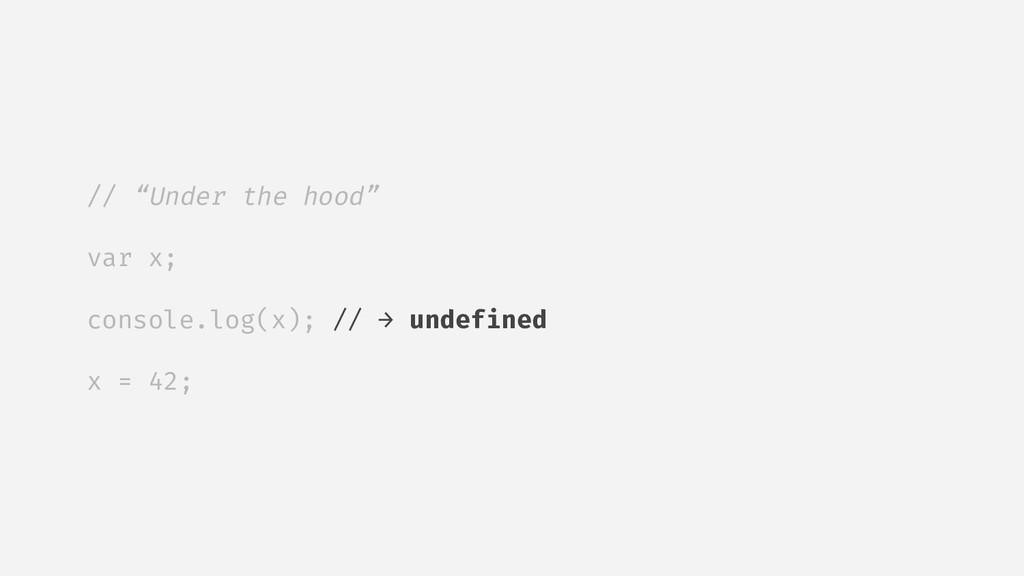 "// ""Under the hood"" var x; console.log(x); // →..."