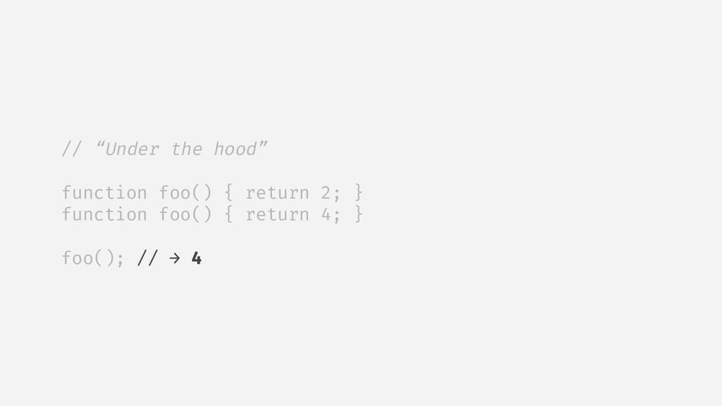 """// """"Under the hood"""" function foo() { return 2; ..."""