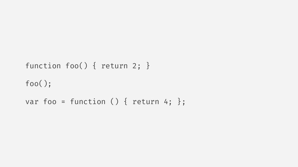 function foo() { return 2; } foo(); var foo = f...