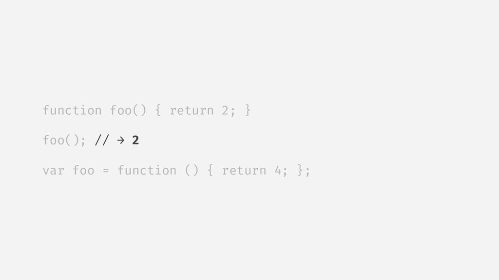 function foo() { return 2; } foo(); // → 2 var ...