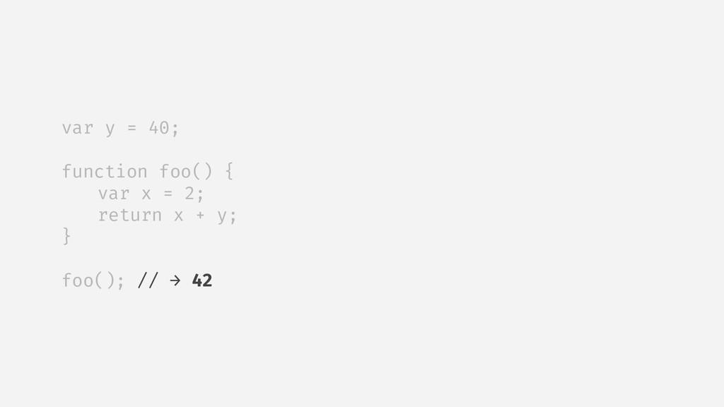 var y = 40; function foo() { var x = 2; return ...