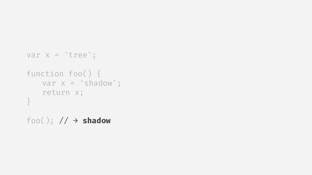 var x = 'tree'; function foo() { var x = 'shado...