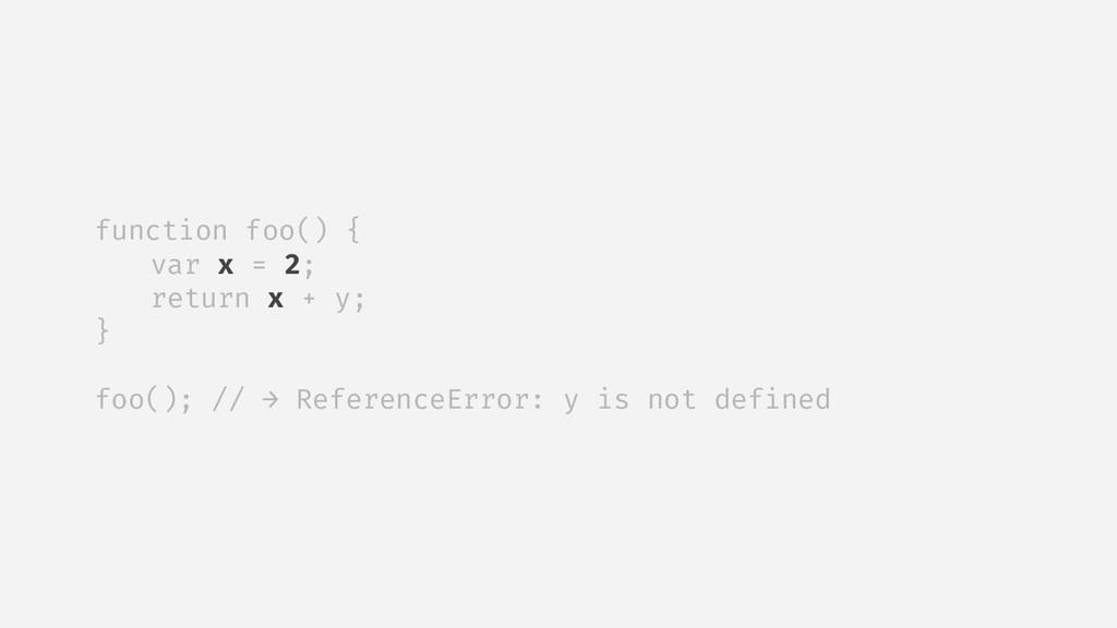 function foo() { var x = 2; return x + y; } foo...