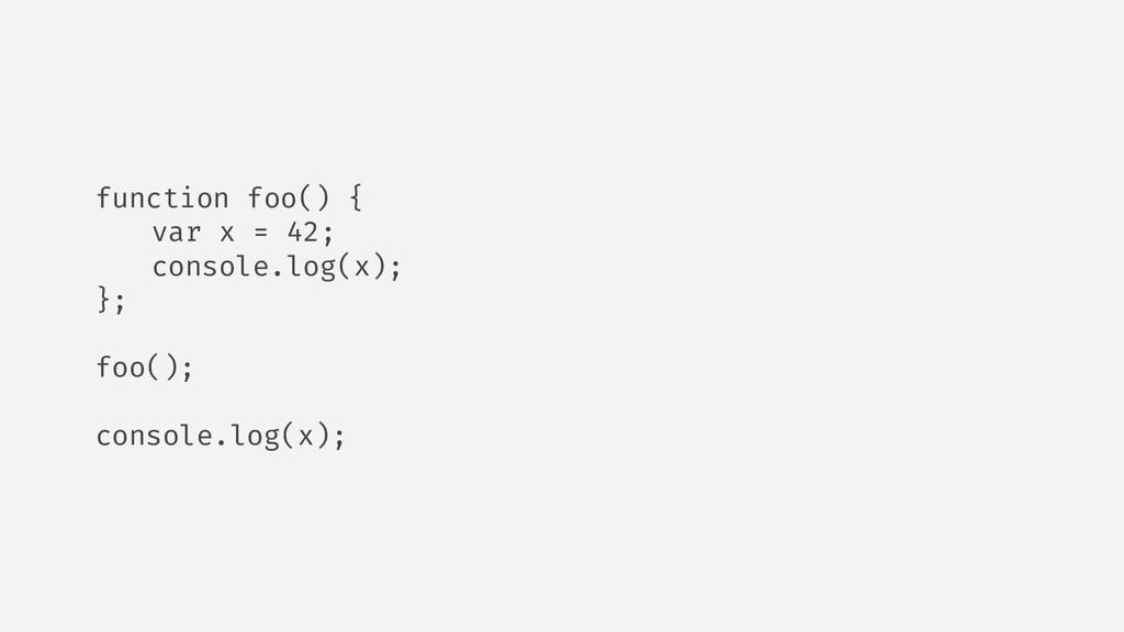 function foo() { var x = 42; console.log(x); };...