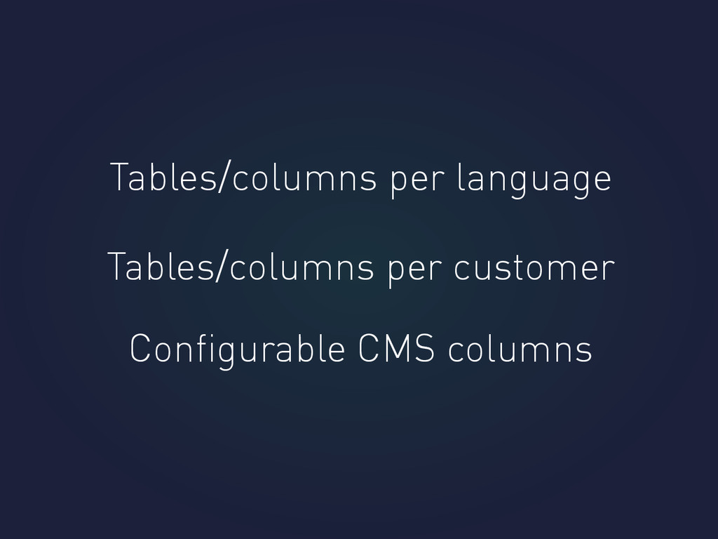 Tables/columns per language Tables/columns per ...