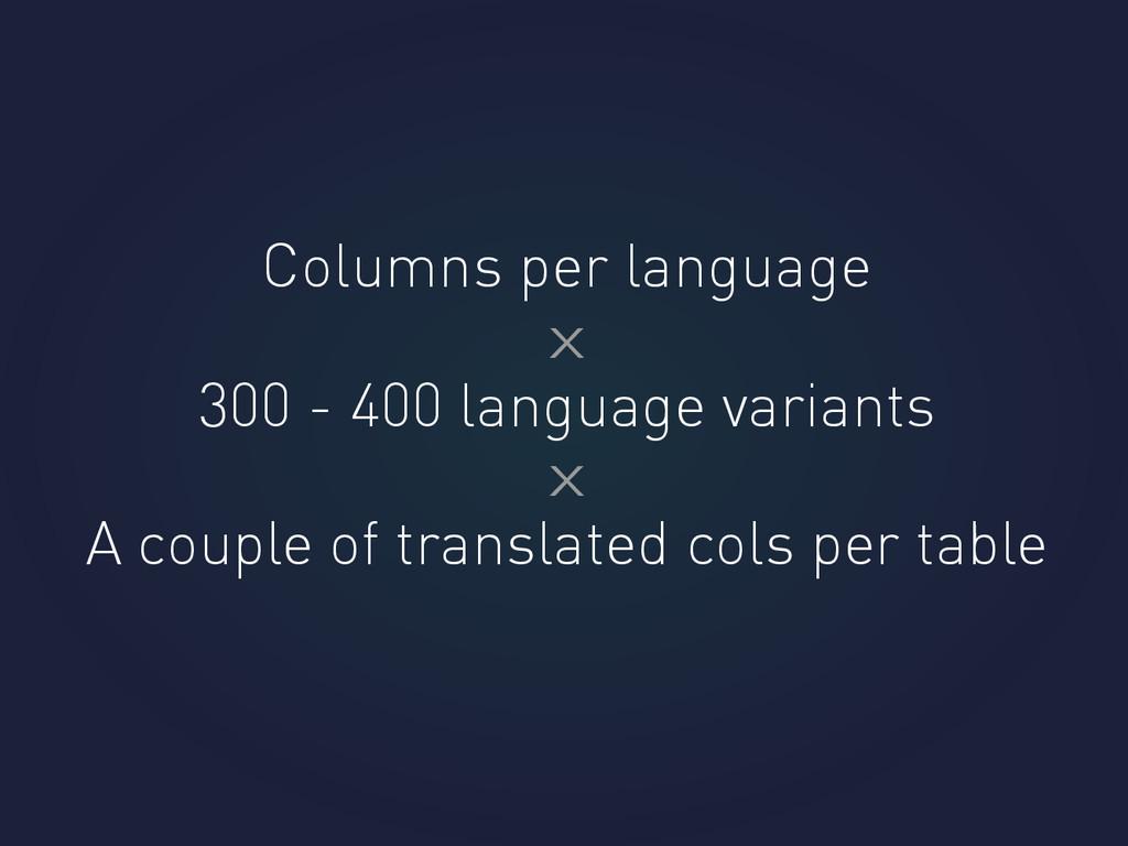 Columns per language 300 - 400 language variant...