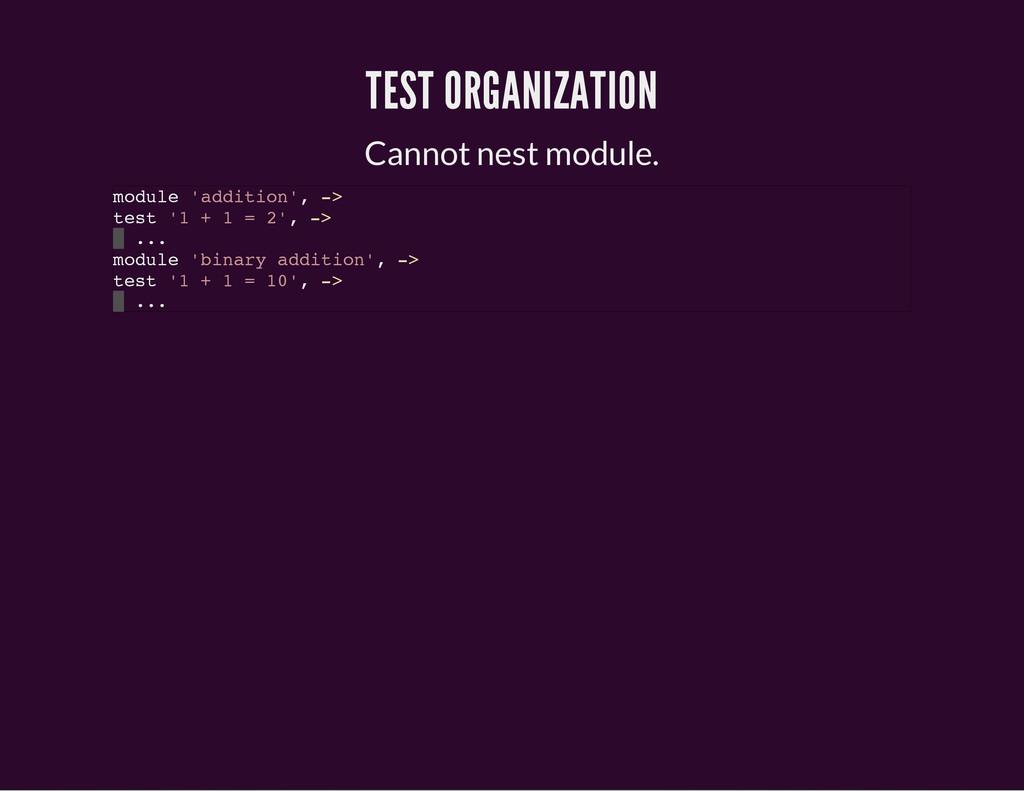 TEST ORGANIZATION Cannot nest module. m o d u l...
