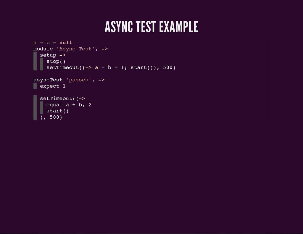 ASYNC TEST EXAMPLE a = b = n u l l m o d u l e ...