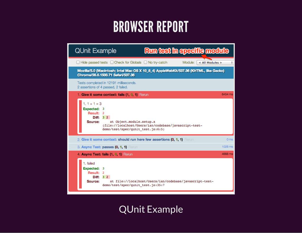 BROWSER REPORT QUnit Example