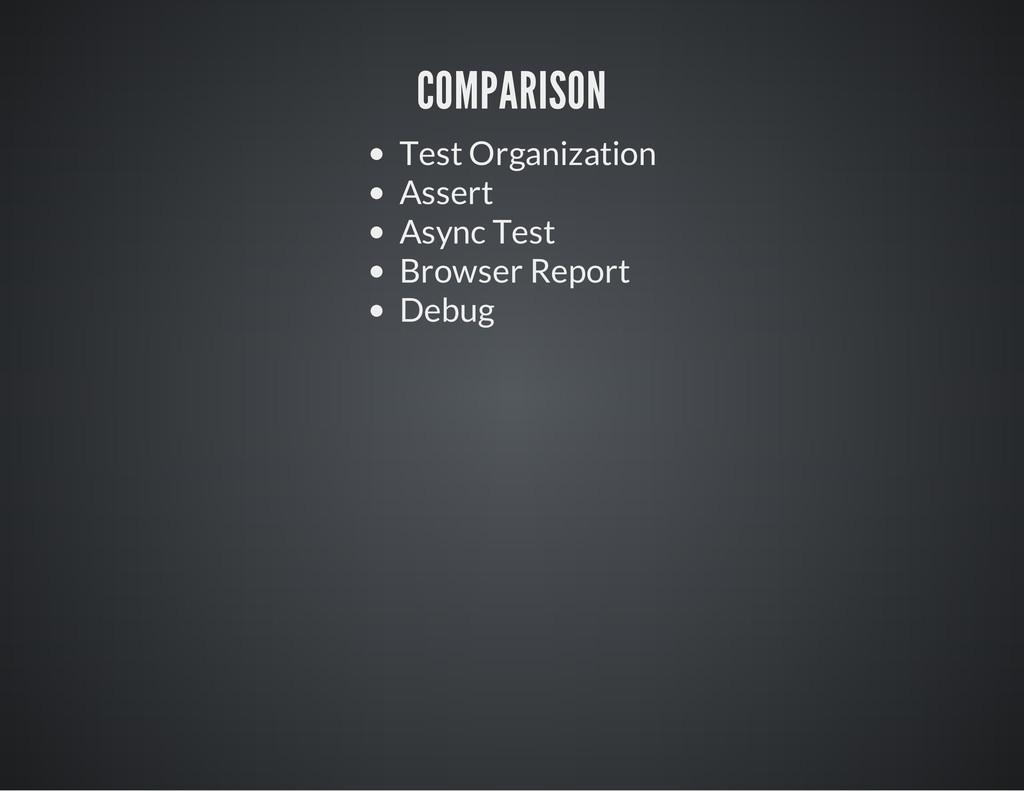 COMPARISON Test Organization Assert Async Test ...