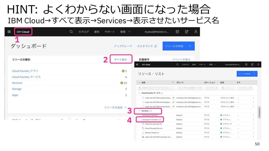 50 1 HINT: よくわからない画⾯になった場合 IBM Cloud→すべて表⽰→Serv...