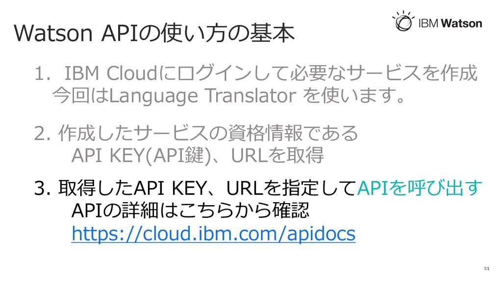 Watson APIの使い⽅の基本 51 1. IBM Cloudにログインして必要なサービス...