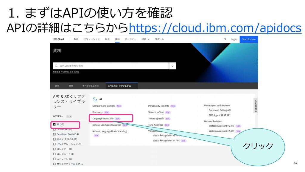 52 APIの詳細はこちらからhttps://cloud.ibm.com/apidocs 1....