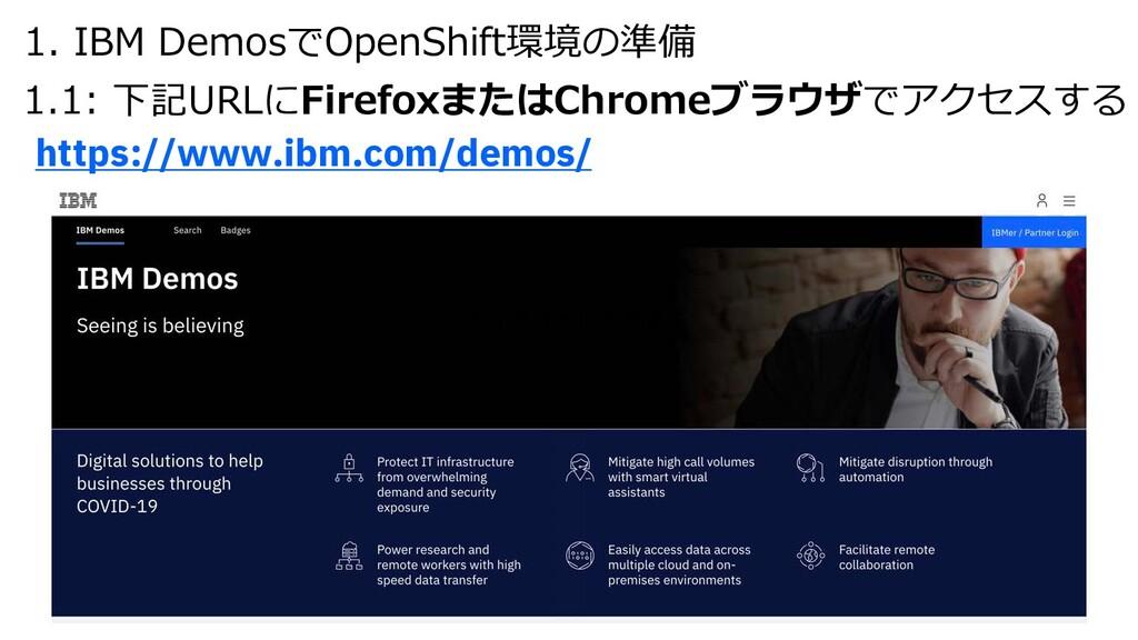 https://www.ibm.com/demos/ 1.デモサイトの準備 1. IBM De...