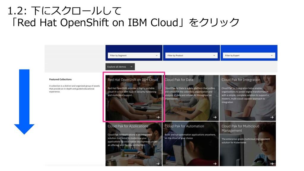 1.2: 下にスクロールして 「Red Hat OpenShift on IBM Cloud」...