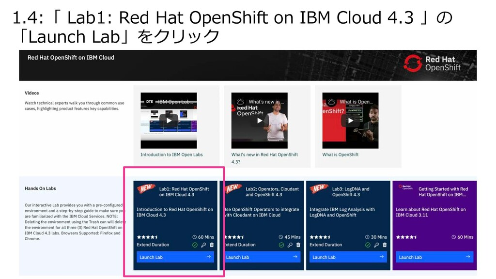 1.4:「 Lab1: Red Hat OpenShift on IBM Cloud 4.3 ...