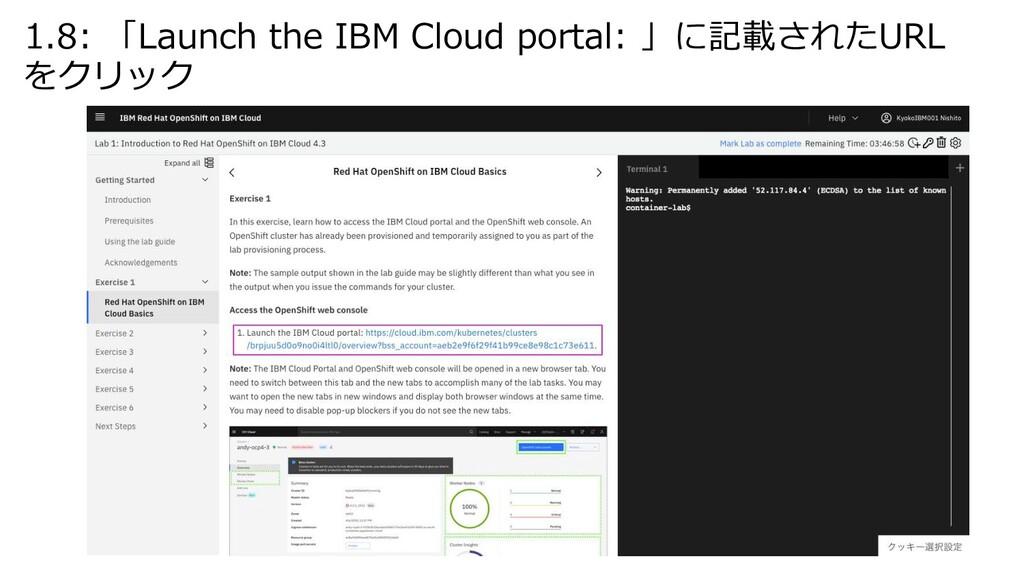 1.8: 「Launch the IBM Cloud portal: 」に記載されたURL を...