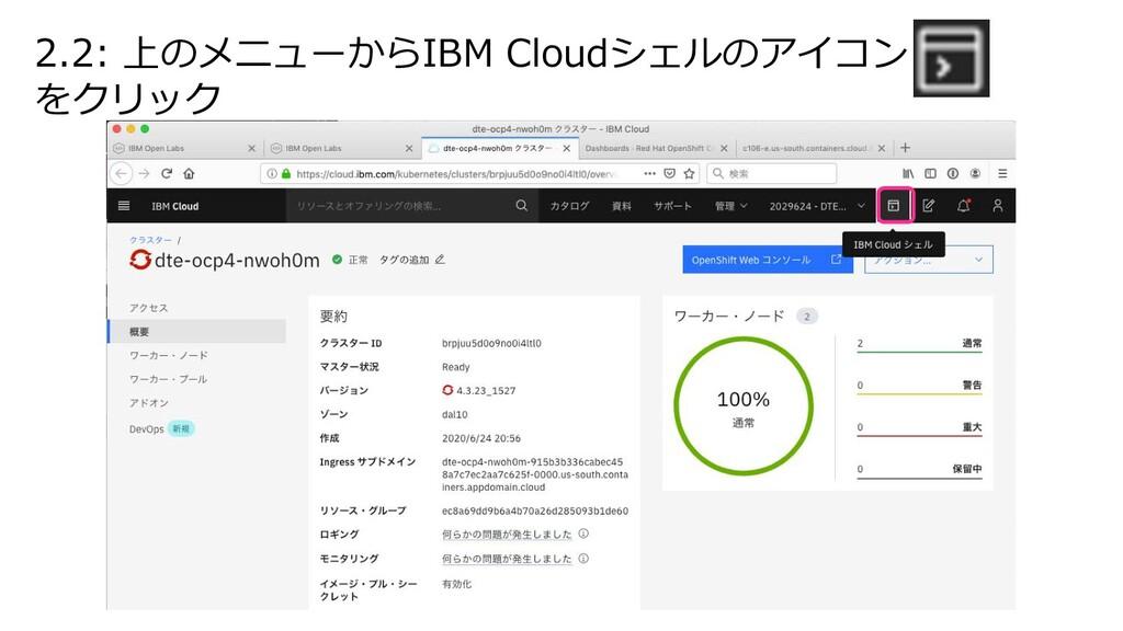 2.2: 上のメニューからIBM Cloudシェルのアイコン をクリック