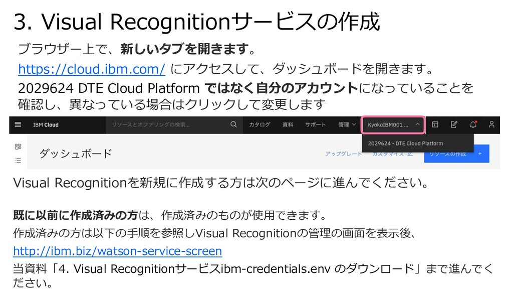 3. Visual Recognitionサービスの作成 Visual Recognition...