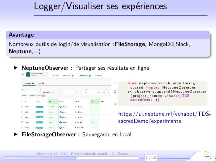 Logger/Visualiser ses expériences Avantage Nomb...