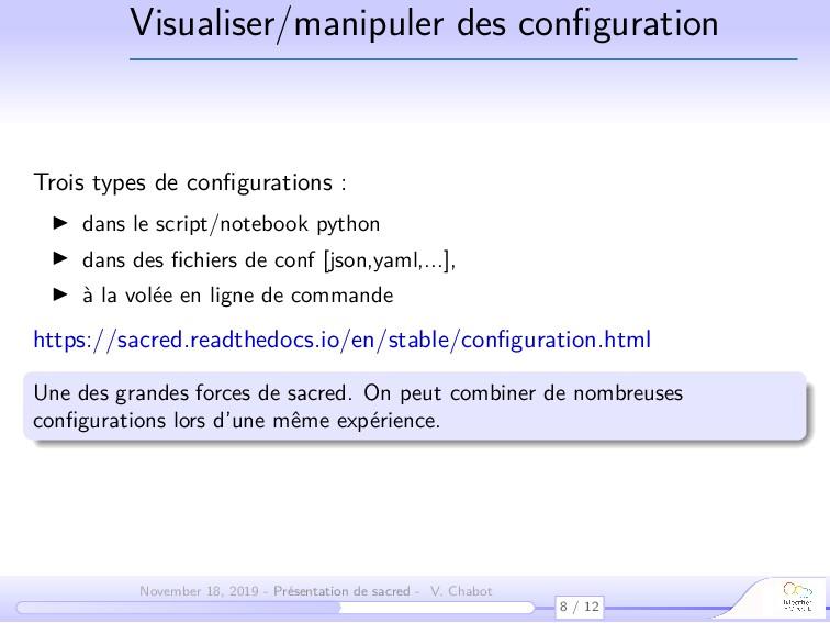 Visualiser/manipuler des configuration Trois typ...