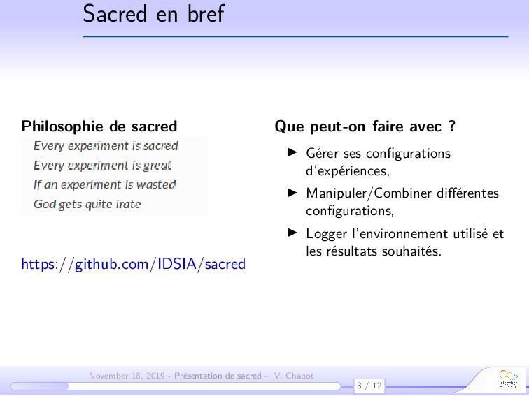 Sacred en bref Philosophie de sacred Que peut-o...