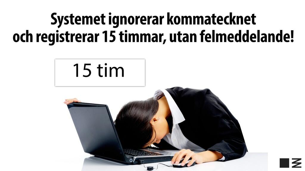 Systemet ignorerar kommatecknet och registrerar...