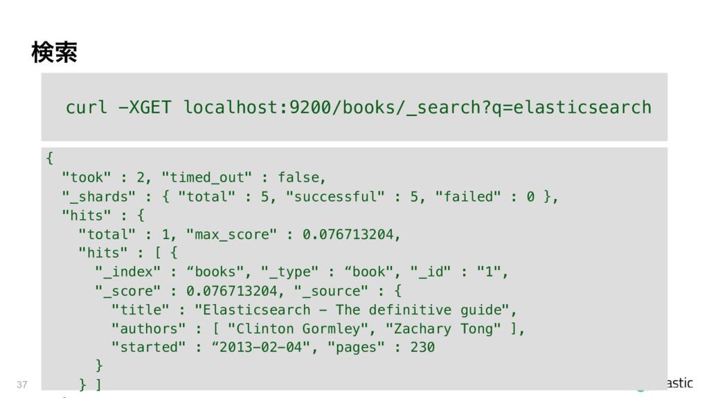 ݕࡧ 37 curl -XGET localhost:9200/books/_search?q...