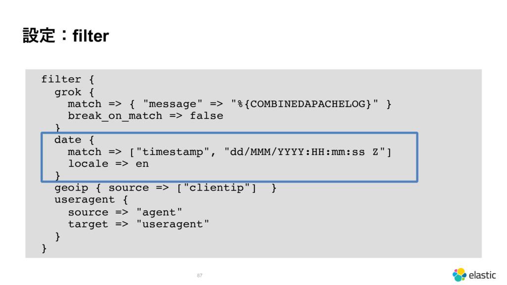"""ઃఆɿfilter 87 filter { grok { match => { """"messag..."""