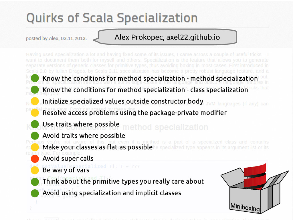 scala-miniboxing.org Know the conditions for me...
