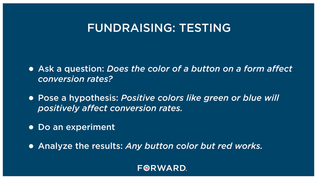 FUNDRAISING: TESTING • Ask a question: Does the...