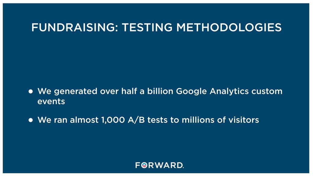 FUNDRAISING: TESTING METHODOLOGIES • We generat...