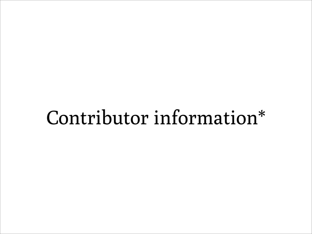 Contributor information*
