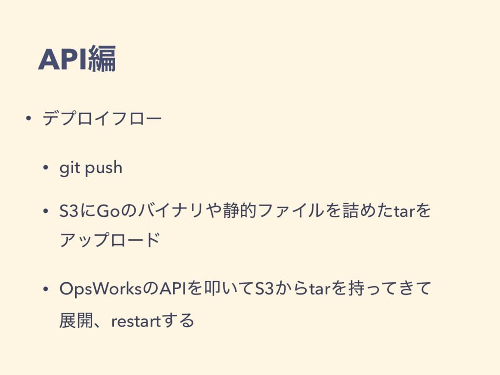 APIฤ • σϓϩΠϑϩʔ • git push • S3ʹGoͷόΠφϦ੩తϑΝΠϧΛ٧...