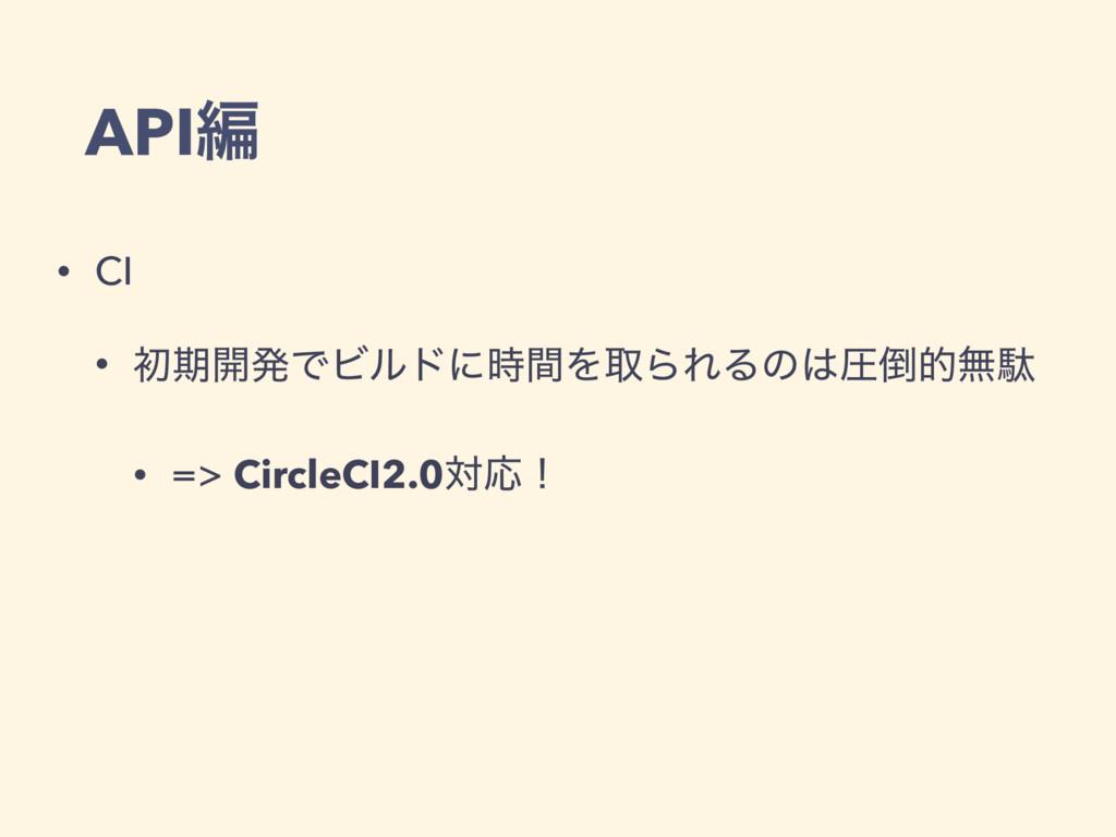 APIฤ • CI • ॳظ։ൃͰϏϧυʹؒΛऔΒΕΔͷѹతແବ • => Circle...